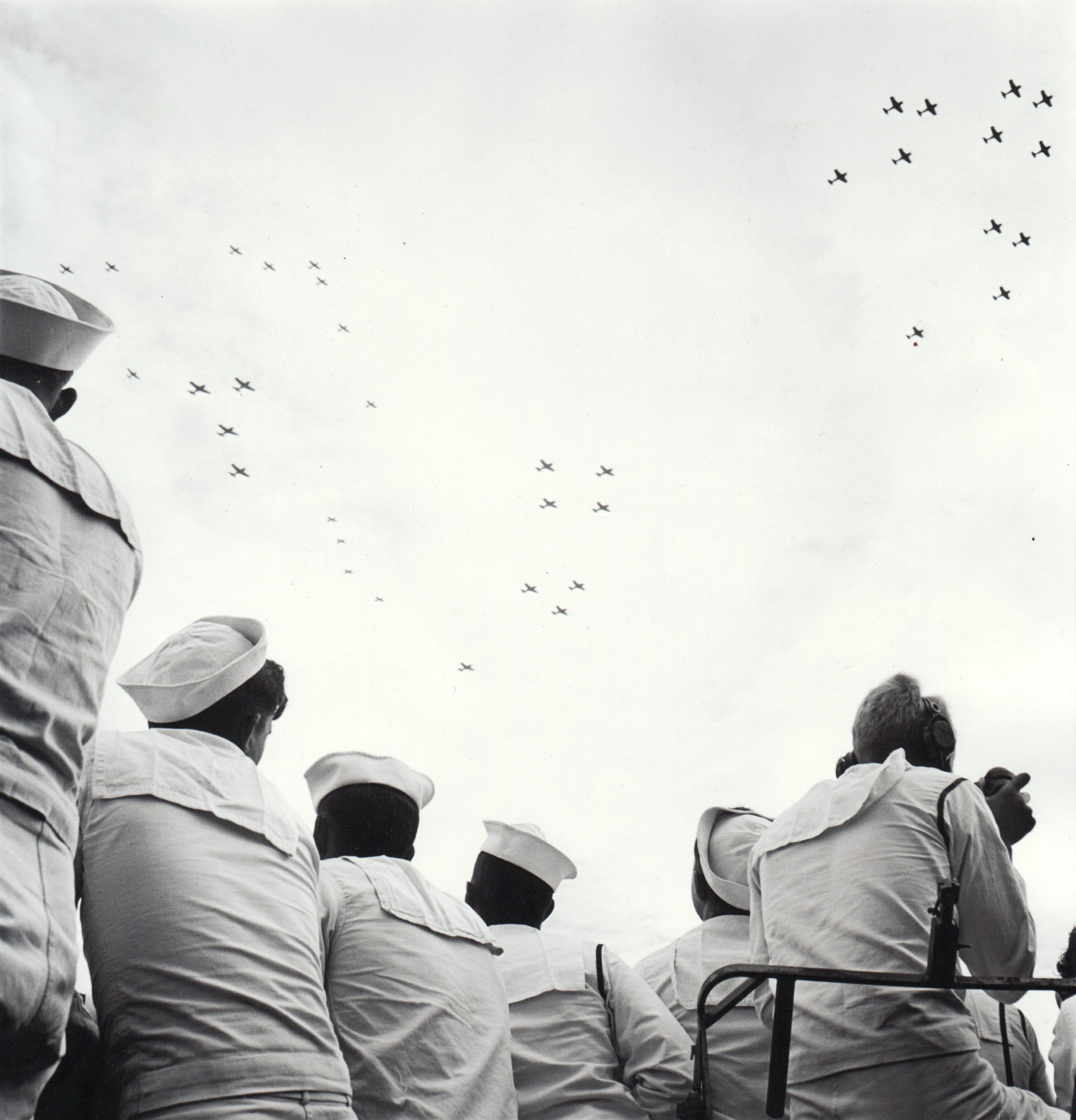 Sailors Watching Planes in Formation