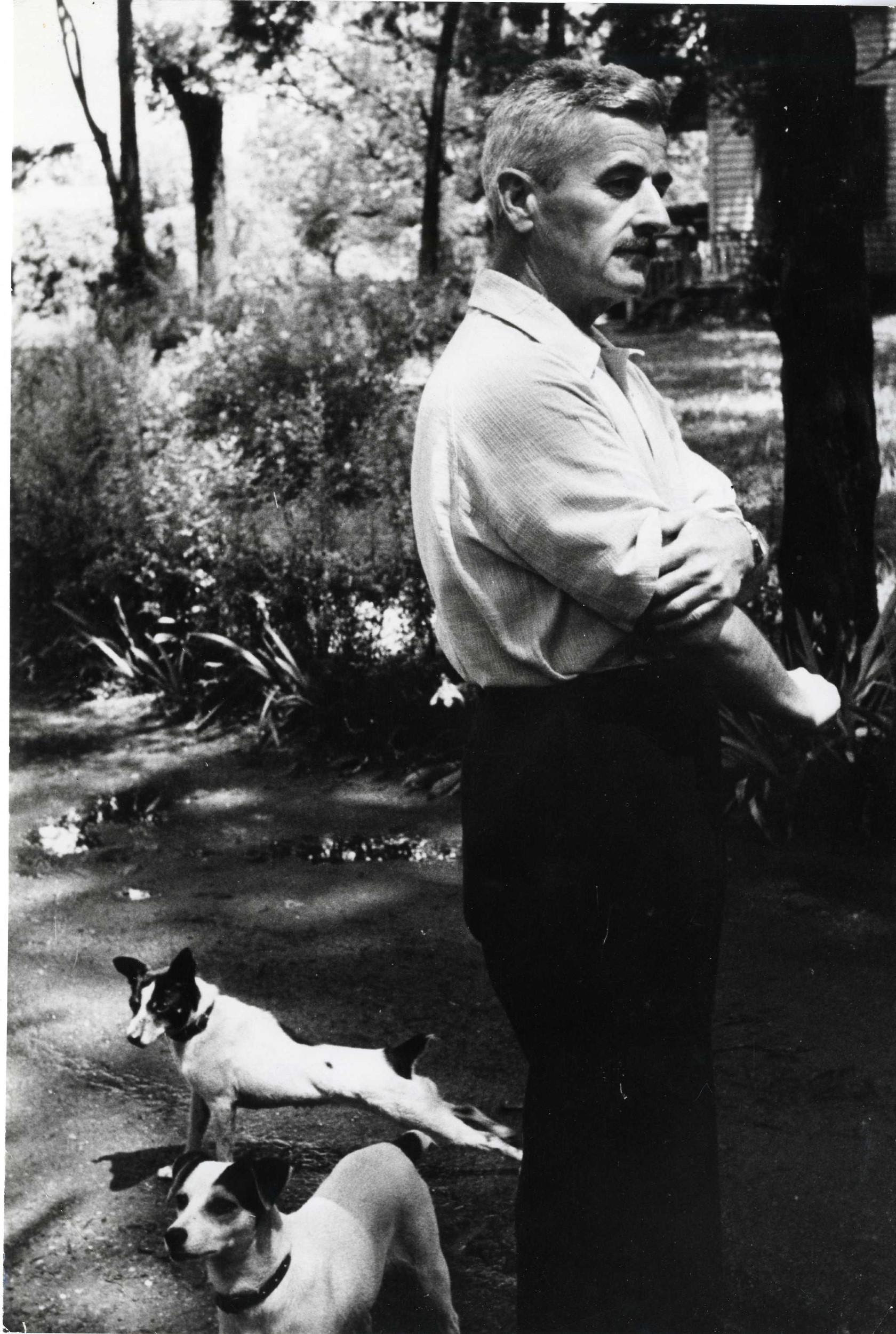 William Faulkner in the garden of his home, Oxford, Mississippi, 1947