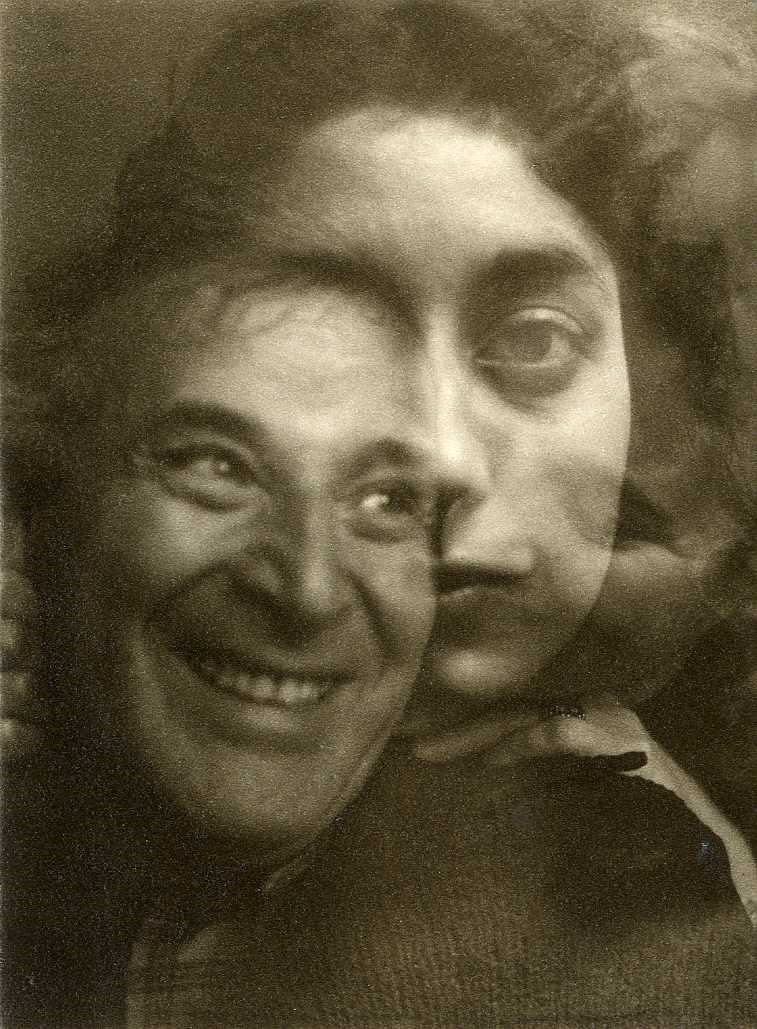 Double exposure of Marc Chagall, Ida Chagall and Rita Pandit, 1944
