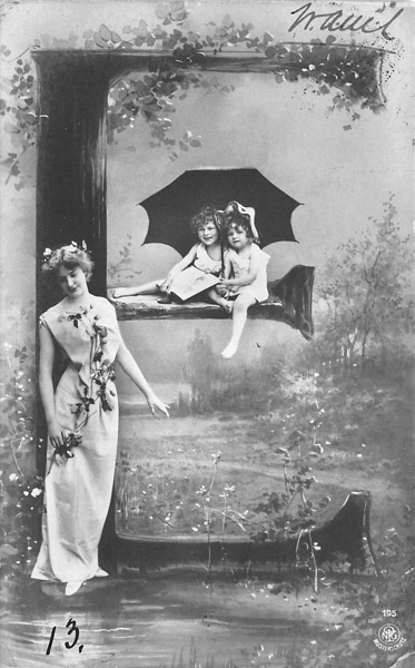Alphabet Series - Elegant Lady and Two Girls under Umbrella with Tree Letter E