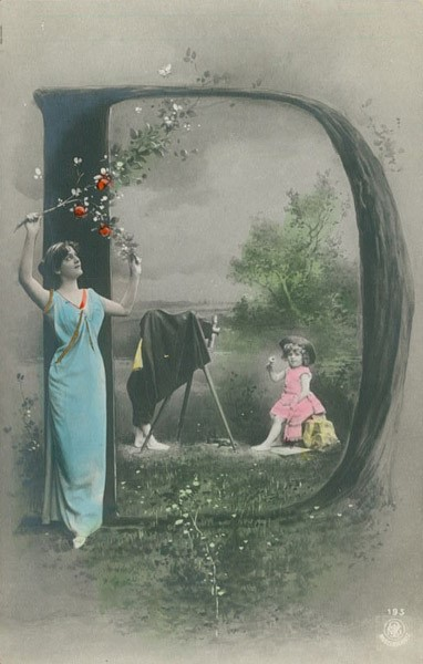 Alphabet Series � Edwardian Lady and Children with Camera with Tree Letter D