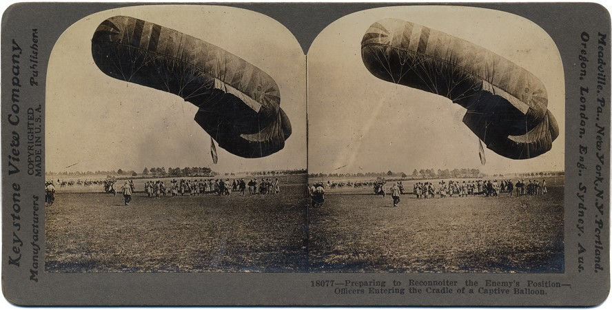 Preparing to reconnoiter the enemy's position - Officers entering the cradle of a captured balloon