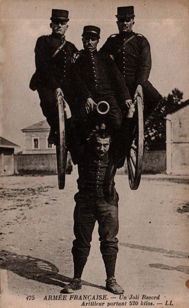 French Soldier Carries Canon and 3 Men (Heavy Artillery!)