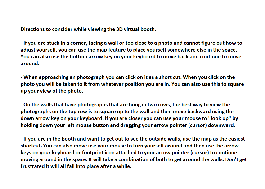 Additional Directions for 3D Virtual Booth